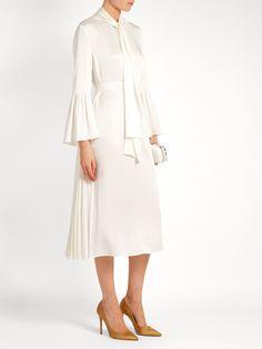 Pleat-side tie-neck satin midi dress | Fendi | MATCHESFASHION.COM US