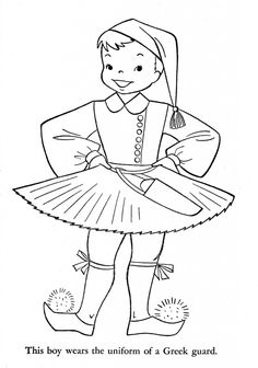 """iColor """"Little Kids Around The World"""" ~ Greece School Coloring Pages, Colouring Pages, Coloring Books, Free Coloring, Coloring Pages For Kids, Sue Sunbonnet, World Thinking Day, Kids Around The World, Hand Embroidery Patterns"""
