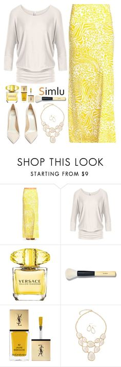 """""""Happy Monday"""" by simlu-clothing ❤ liked on Polyvore featuring Versace, Bobbi Brown Cosmetics, Yves Saint Laurent and Francesco Russo"""