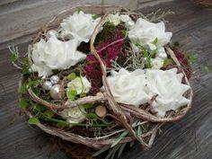 Kränze - Tischkranz,weiße Rosen+Erika,natürlich,Türkranz - ein Designerstück von die-mit-den-blumen-tanzt bei DaWanda