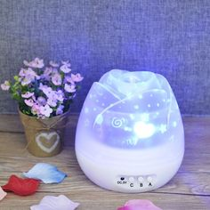 Auto Rotating Rose Star Night Light Romantic LED Projector Wedding Party Lamp 12.7X12.7X12.5cm,White -- Click image for more details. (This is an affiliate link) #NurseryNightLights