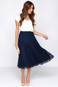 Love this lulu skirt http://m.lulus.com/products/lace-in-my-heart-navy-blue-lace-midi-skirt/186306.html
