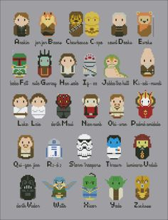 Star Wars parody alphabet sampler PDF cross by cloudsfactory