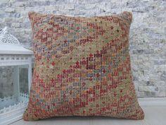 Made Of Vintage Turkey Kilim Rug Lumbar Pillow Cover 18 x 18 Embroidery Design Kilim Pillow Decorative Floor Pillow Aztec Pillow Boho Pillow