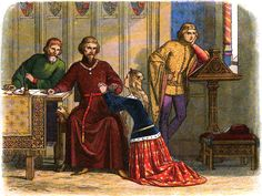 Queen Anne pleads with the Earl of Arundel to let off Simon de Burley.