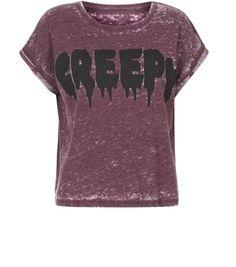 Burgundy Creepy Burnout T-Shirt