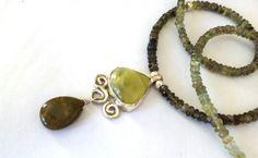 green tourmaline, pernite,jasper and sterling silver.designed and hand made by Efrat shifrin https://www.facebook.com/SHIFRINSALINGER