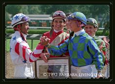Angel Cordero, Mike Smith, Chris Antley and Robbie Davis at Saratoga 1992  (In Celebration of Mike Smith | Daily Racing Form/Barbara Livingston)