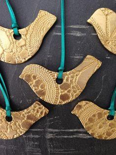 6 Gold Bird Christmas Decorations Ceramic by PrinceDesignUK