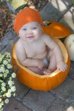 Baby in a pumpkin for Baby's First Halloween photo Fall Baby Pictures, Holiday Pictures, Newborn Pictures, Baby Pumpkin Pictures, Fall Photos, Fall Pics, Kid Photos, Newborn Pics, Halloween Photography