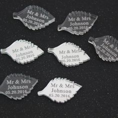 Personalised Mirror / Clear Wedding Leaf Favours Birthday Table Decoration #Unbranded