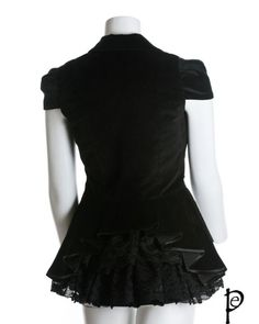 Black Gothic Steam Punk Victorian Special Jacket with Bustle