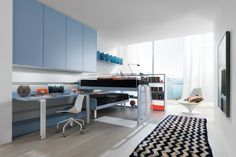 Italian Home, Kid Spaces, Office Desk, Corner Desk, Kids Room, Kitchen Cabinets, House Styles, Bed, Table