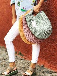 "Пряжа Spagetti ® Спагетти ""Learn the Tunisian Crochet Smock Stitch - Crochet Ideas"" Bag Crochet, Crochet Handbags, Tunisian Crochet, Crochet Purses, Love Crochet, Crochet Stitches, Crochet Patterns, Crochet Ideas, Yarn Bag"