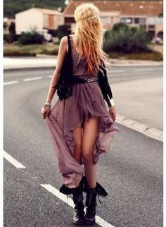 Boho Fashion | High-low hem chiffon dress, crocheted vest, tall boots