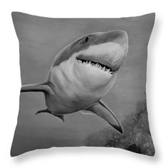 Shark Throw Pillow featuring the drawing Reef Shark by Faye Anastasopoulou Fusion Art, Reef Shark, Ocean Scenes, My Themes, Pillow Sale, Basic Colors, Artist At Work, Color Show, Underwater