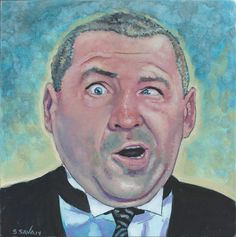 Curly Howard from the Three Stooges Done on 6x6 inch Aquabord with Winsor & Newton Gouache Paints