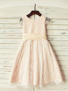 Scoop Neck A-Line/Princess Flower Girl Dresses Lace Sash Sleeveless Tea-length - lalamira Flower Girl Dresses Country, Blush Flower Girl Dresses, Princess Flower Girl Dresses, Lace Flower Girls, Lovely Dresses, Girls Dresses, Types Of Dresses, Ladies Dress Design, Lace Dress