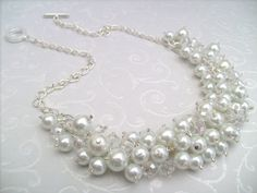 Beaded Cluster Necklace Pearl Necklace Pearl Beaded by KIMMSMITH, $24.00