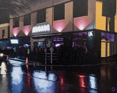 Available to buy online, Arcade by Alex Marmarellis, large painting on canvas of vibrant Cape Town night scene, size 150 x 120 cm. Paintings Online, Online Painting, Large Painting, Cape Town, Online Art Gallery, Canvas Size, Arcade, Artworks, Scene