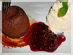 Chocolate Souffle with vanilla ice cream