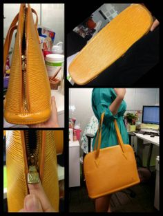 Louis Vuitton Epi Lussac Bag Yellow Authentic. Used condition. 6/10  Selling at 555SGD  Tag#LV#Louis Vuitton#Cheap#authentic#real#Preowned#Preloved#Prada#chanel#Miu miu#Gucci#