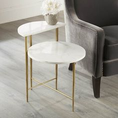 Marble Top End Tables, Marble Top Coffee Table, Small Coffee Table, Small Tables, Side Table Decor, Chair Side Table, Side Tables, Center Table Living Room, Living Room Update
