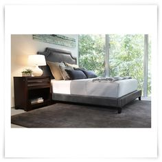 $700!!!  City Furniture: Ariana2 Dk Gray Bonded Leather Platform Bed