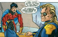 M'onel confronts Leland McCauley (actually Ra's al Ghul in disguise). From The Legion #3 (2002). Art by Olivier Coipel.