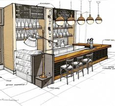 Sketches: a fragment of a bar counter small … Sketches: a fragment of the bar counter of a small restaurant in Astana. Everything is still under construction. Sketch of a small restaurant in Astana. All is under construction. Design Shop, Kiosk Design, Cafe Design, Small Restaurant Design, Restaurant Interior Design, Sketch Restaurant, Coffee Shop Interior Design, Coffee Shop Design, Bar Counter Design