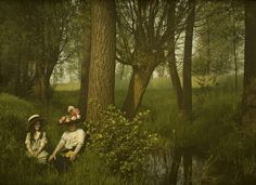 Woman and girl by a brook - c. 1910, autochrome by Charles Corbet