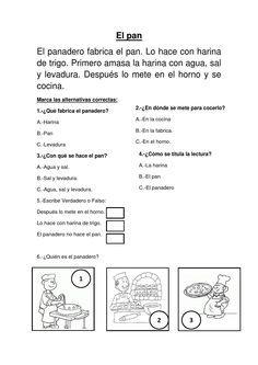EL PAN:COMPRENSION LECTORA PARA EL SEGUNDO GRADO DE PRIMARIA