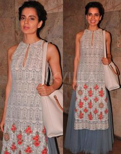 Kangana Ranaut in Anju Modi. Hand pinned by Feron Clark Style. this neckline Indian Look, Indian Ethnic Wear, Kurta Designs, Blouse Designs, India Fashion, Asian Fashion, Indian Dresses, Indian Outfits, Kurta Style