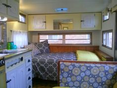 Vintage travel trailer '73 Red Dale/ love how the yellow lightens it up!