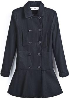 Black Lapel Long Sleeve Double Breasted Ruffle Coat - Sheinside.com