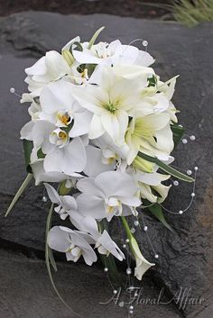 BB0541-White Lily and Orchid Bridal Cascade