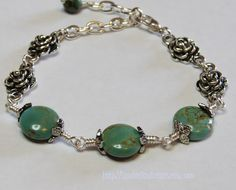 Wire Wrapped Beaded Bracelet GREEN TURQUOISE