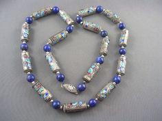 EXQUISITE Vintage Chinese Cloisonne & Genuine Lapis Bead Necklace   eBay