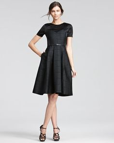 Satin-Top Belted Dress by Jason Wu at Neiman Marcus. So adorable, pair with wrist length gloves! Great pockets