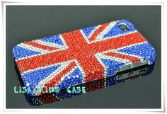 Bling rhinestone UK flag iphone 4 case cover iphone 4s case iphone 5 case iphone 5 cover