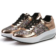 New Chunky Sneakers Wedge Shoes Sequins Trainers Paillette Platform Sneakers Tenis Feminino Zapatillas Mujer online shopping - Thehotnewreleases Moda Sneakers, Girls Sneakers, Wedge Sneakers, Casual Sneakers, Sneakers Fashion, Casual Shoes, Fashion Shoes, Chunky Sneakers, Shoes Sneakers