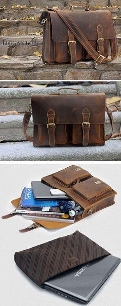"Vintage Handmade Antique Leather Briefcase Cowhide Messenger 14"" 15"" Laptop 13"" 15"" MacBook Bag"