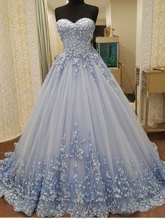 Strapless Sweetheart Neck 3D lace appliqued Quinceanera Dresses,apd2518