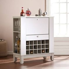 Product Image for Southern Enterprises Mirage Mirrored Fold-Out Wine/Bar Cabinet in Silver 1 out of 5