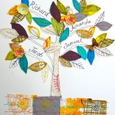 Family Tree- made to order by Amanda Wood  A lovely keepsake or gift. Each tree is made to order so you can choose your colours and add your