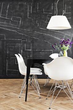 graphic wall, herringbone floor