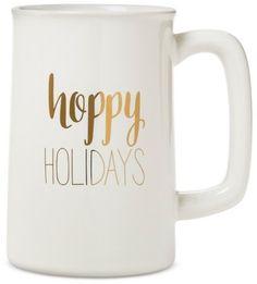 """Threshold """"Hoppy Holidays"""" Beer Mug 20oz Stoneware White - Threshold"""