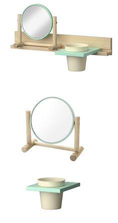 IKEA PS 2014 mirror. There is room on the mirror's 2 knobs for everything from jackets and scarves to necklaces, keys and other things. Together with the wall rail and the other accessories in the IKEA PS 2014 series you can create different combinations to suit your needs and your home. Designer: Tomás Alonso