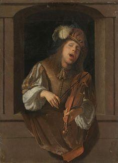 Singing Violinist by Jacob Ochtervelt (Rotterdam 1634 – 1682 Amsterdam) ca.oil on panel x cm Cleveland Museum Of Art, Art Institute Of Chicago, Baroque Art, Dutch Golden Age, Dutch Painters, Art Database, Paintings I Love, Art Music, Art History