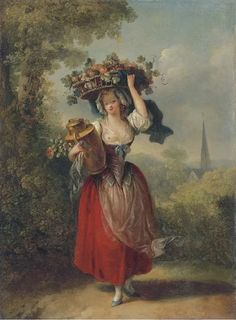 A Peasant Girl Carrying a Basket of Fruit on her Head - Jean-Frédéric Schall - The Athenaeum Romantic Paintings, Classic Paintings, Beautiful Paintings, Rococo Painting, Victorian Paintings, Vintage Drawing, Vintage Artwork, A4 Poster, Poster Prints